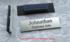 """Custom Employee Name Tag - Badge smooth Silver, magnet attachment 2.75"""" x .75"""""""