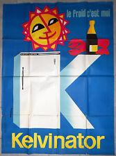Affiche ancienne FRIGO KELVINATOR Réfrigérateur AURIAC Homard CHAMPAGNE 50's