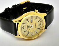 SEIKO 5 AUTOMATIC MEN,S GOLD PLATED VINTAGE GOLD  DIAL MADE JAPAN WATCH  ORDER