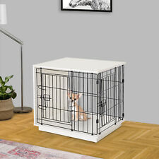Pawhut Metal Frame Dog Cage Half Crate w/ 2 Doors White - 64L x 50W x 60.5H cm