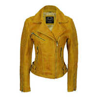 Ladies Yellow Vintage Soft Washed 100% Real Leather Biker Jacket Size Slim Fit