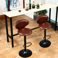 Set of 2 Leather Adjustable Bar Stools Counter Height Swivel Stool By Leopard US