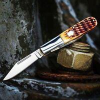 Boker Barlow Pocket Knife 440C Stainless Steel Clip/Pen Blades Brown Bone Handle