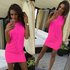 Women Summer Sleeveless Evening Party Tunic Tank Casual Beach Mini Dress UK 6-14