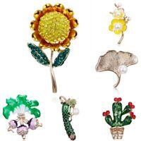 Cucumber Cactus Sunflower Rhinestone Pearl Costume Brooch Pin Women Jewelry New