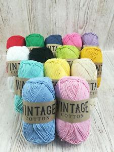 Vintage Cotton DK Yarn 100g ball 80% cotton crochet and knitting wool