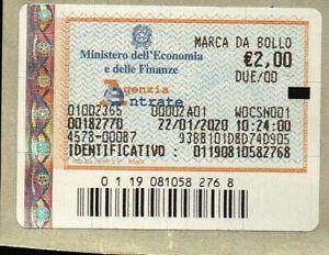 MARCA DA BOLLO DA € 2,00 - 22/01/2020 - AD USO COLLEZIONISTICO -