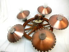 Vintage Wooden Western Wagon Wheel Ceiling Lamp Chandelier Glass Chimmeys Brass