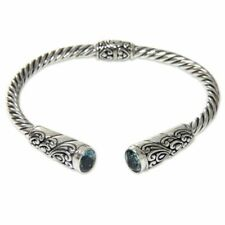 Blue Topaz Sterling Silver Hinged Cuff Bracelet 'beacon of Light' NOVICA Bali