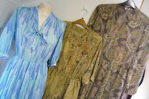 3 VINTAGE 1940s style DRESSES SWING WARTIME DECO AUTUMNUL BLUE PUSSY BOW 12 14