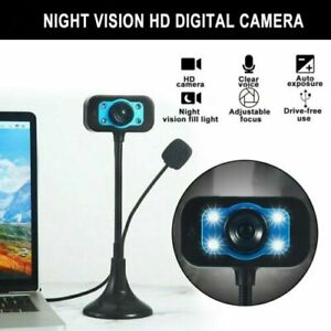 HD Webcam With Microphone LED Video Web Camera For PC Computer Desktop Laptop UK