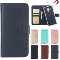 For Samsung Galaxy A6 A8 Plus Flip Wallet Case Removable Magnetic Leather Cover