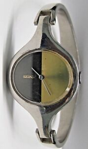 """Vintage Lds Seiko Stainless Steel Wrist Watch Bracelet.  """" Cool Dial """" 1970's"""