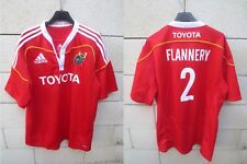 Maillot rugby MUNSTER Jerry FLANNERY n°2 ADIDAS shirt jersey collection XL rouge