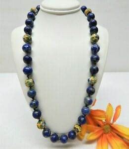 """HAND KNOTTED LAPIS LAZULI & CLOISONNE BEAD NECKLACE W/ 14K WHITE GOLD CLASP 17"""""""