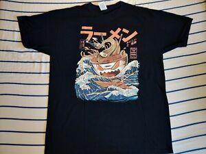 Ramen Monster Design T-Shirt Black large Used