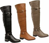 New Ladies Women Flat Low Heel Thigh High Over The Knee Faux Leather Boots Shoes
