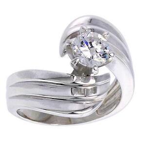 Sterlingsilber Ring W/6mm (1.0 Karat) Brillantschliff Cz Stein, Makellos Finish