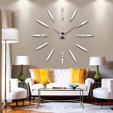 3D Moderne Wanduhr Spiegel Nummer Uhr Wandtattoo Wohnzimmer Dekouhr SILBER