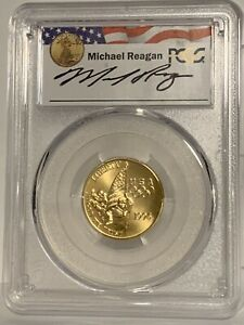 1996-W $5 Gold Olympic Flag Bearer PCGS MS70 - Michael Reagan!!