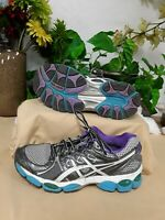 Asics Women's Gel-Nimbus Sneakers Gray/White/Purple Size7.5