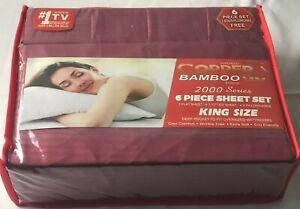 Infused Copper X Bamboo 2000 Series 6pc King Size Series Sheet Set Burgundy