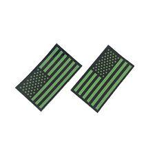 Infrared Forward & Reverse US Flag Patch, IR Military VELCRO Brand Green & Black