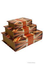 Set 3 Nesting Wooden Wood Book Stacking Union Jack British Flag Decorative Box