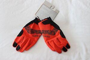 New Women's Giro Candela Gel Winter Gloves Full Finger Cycling Large Red Orange