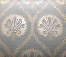 "8.75yd THIBAUT ""Kimberly"" Aqua Ogee Floral Trellis Wallpaper T85017 $165 Retail"