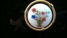 Stunning Golden Guilloche Flower Vase Brooch, Vintage Jewelry