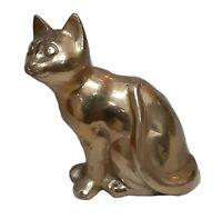 Golden Cat Design Antique Style Handmade Brass Figurine Sculpture Figure Statue
