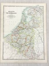 1896 Antique Map of Belgium Holland The Netherlands 19th Century Johnston