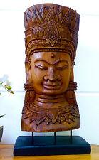 Apsara Kopf Teak aus Angkor Buddha H.80cm Statue Figur Skulptur Holz Maske Büste