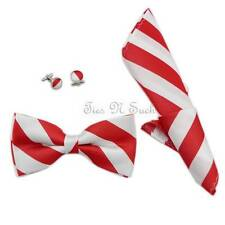 Red & White Striped Bow Tie Set - Luxury Silk Bow Tie - College Bow Ties