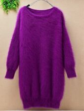 Mohair angora mink purple knitted knit long sleeve sweater jumper lux
