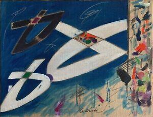 Dino La Bianca acrilico su tela juta Composizione Blù 80x60 firmato archiviato