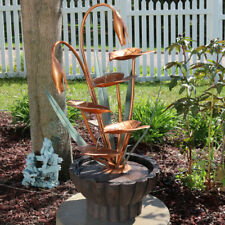 "Sunnydaze Copper Flower Petals w/5-Tier Outdoor Water Fountain 34"" Water Feature"