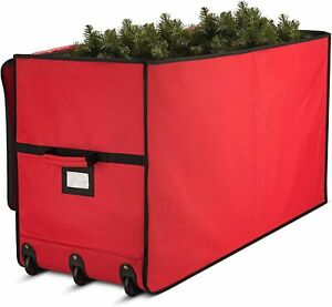 Rolling Christmas Tree Storage Box Wide Opening 45x23x16 Red