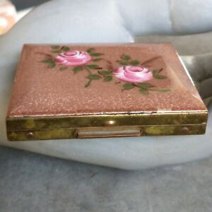 Vintage Collectible Brass Powder Puff Makeup Compact Box Enamel Flower Art Deco