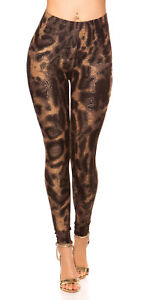High Waist Damen Leggings mit Leo Animal Print