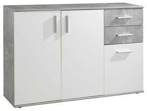 Sideboard Kommode Anrichte Highboard Mehrzweckschrank Schubladen Weiß Betonoptik