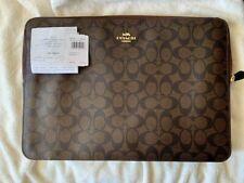 ORIGINAL COACH Bag 14'' Laptop Sleeve Clutch Signature Dark Brown Coated Canvas