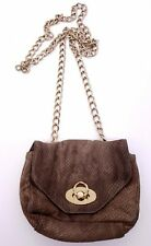 PIETRO ALLESANDRO Brown Taupe Reptile Snake Textured Chain Strap Crossbody Bag