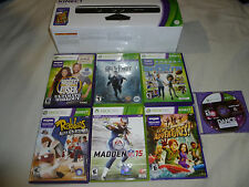 BOXED XBOX 360 KINECT SENSOR & GAME LOT RABBIDS MADDEN 15 SPORTS HARRY POTTER >>