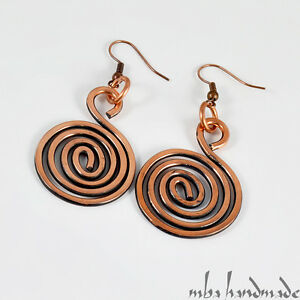 Antiqued Copper Wire Wrapped Handcrafted Vintage Spiral Earrings by Mba Handmade