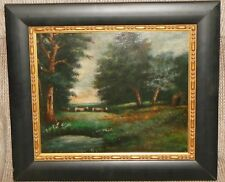 Oil on Board c1800s Painting of Cattle Grazing in a Wooded Landscape