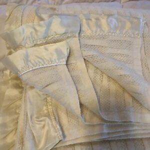 "Vintage Ivory Twin Acrylic Blanket Satin Trim Made USA Waffle Weave 90"" x 63"""