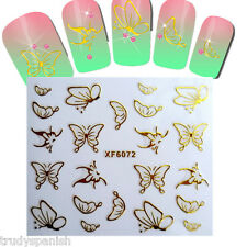 Metallic Gold Shiny Butterflies Nail art stickers transfers decoration (6072)