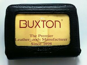 NWT BUXTON Black Leather Wallet Small Accordion Zip